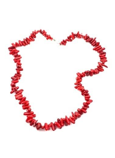 Stoneage Bayan için Doğal Kırmızı Mercan Kolye Renkli